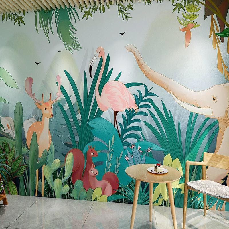 手绘北欧绿色植物墙纸主题餐厅幼儿园背景墙布3D森林动物创意壁纸