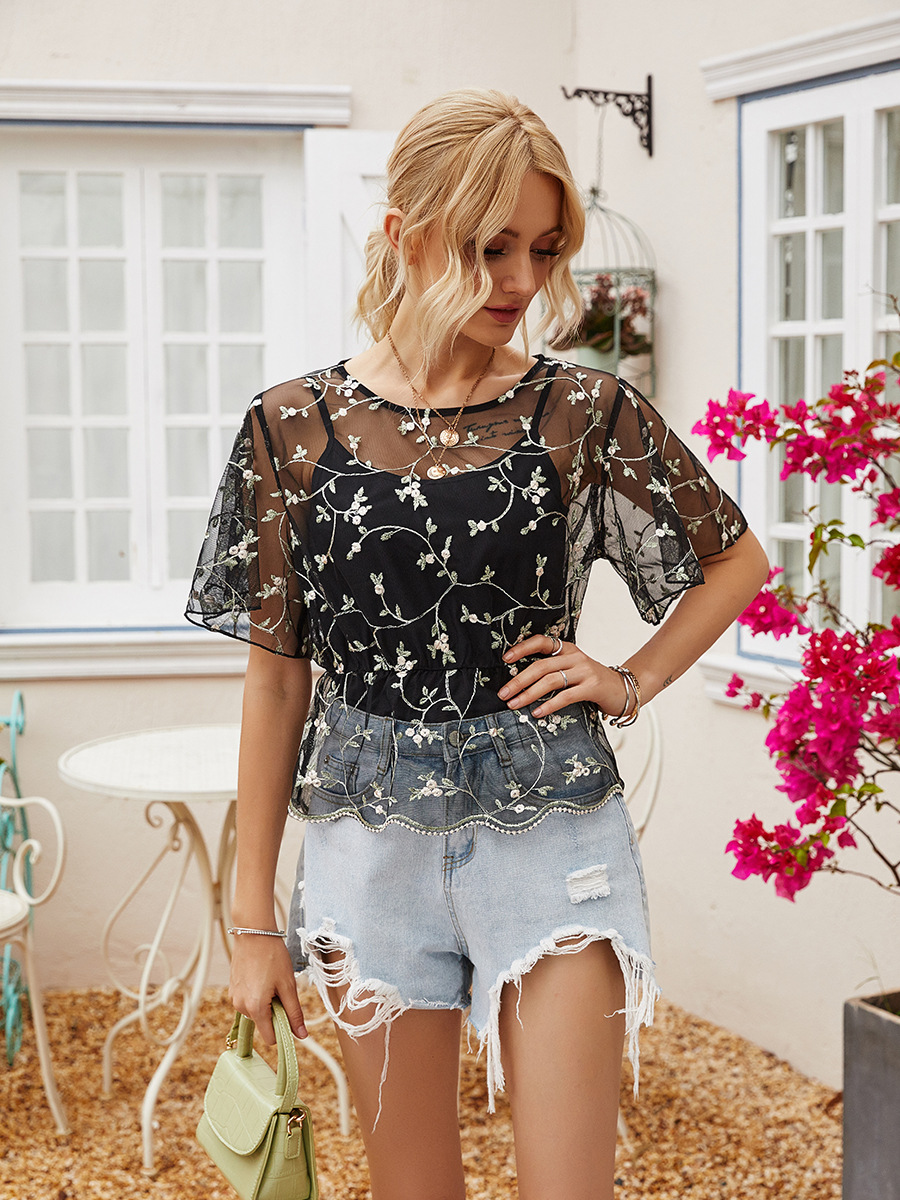 ultra-thin see-through mesh embroidery flower T-shirt top NSAL2902