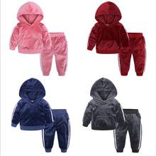 春秋款加厚运动套装 儿童套装 素色 金丝绒保暖舒适透气