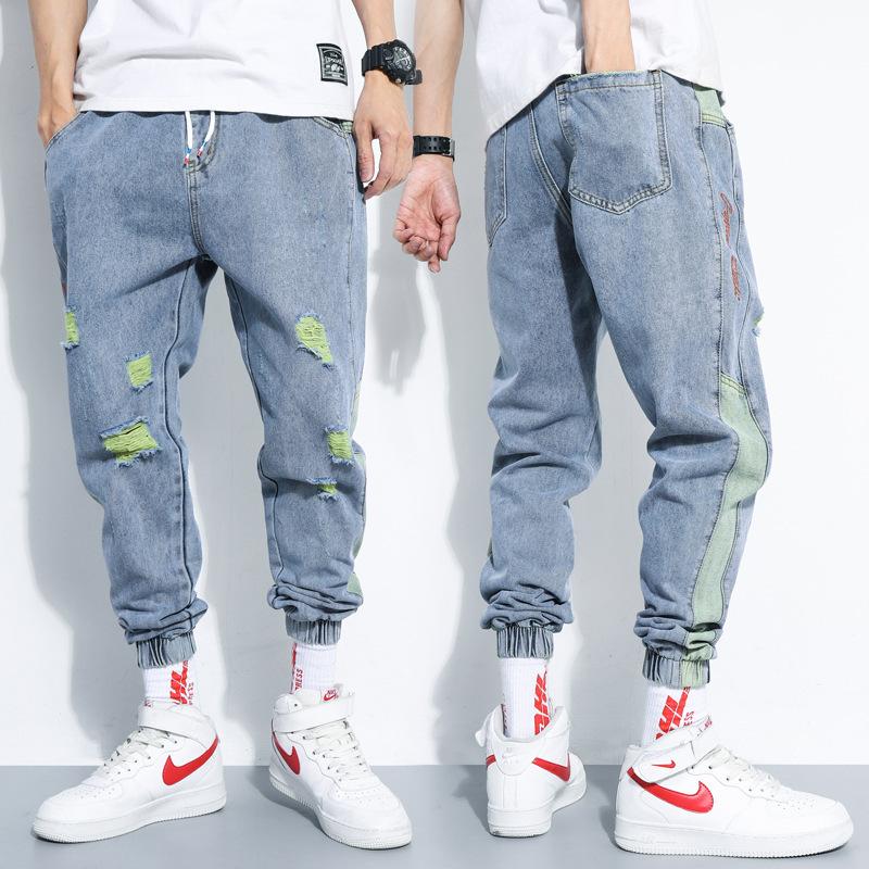 2020年春夏季破洞九分牛仔裤男士新款韩版潮流束脚宽松夏款哈伦裤