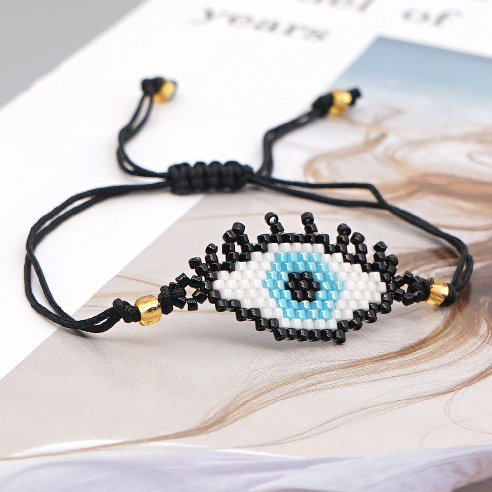 Fashion simple wild ethnic style handmade jewelry rice bead weaving demon eye bracelet NHGW259238