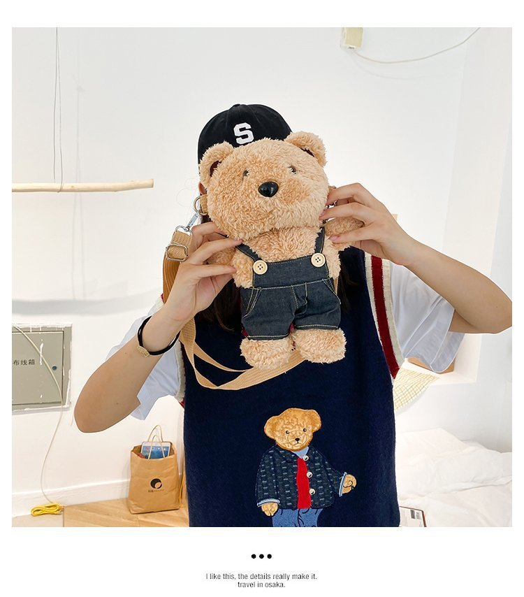 Cute plush bear doll shoulder bag wholesale NHTG332349