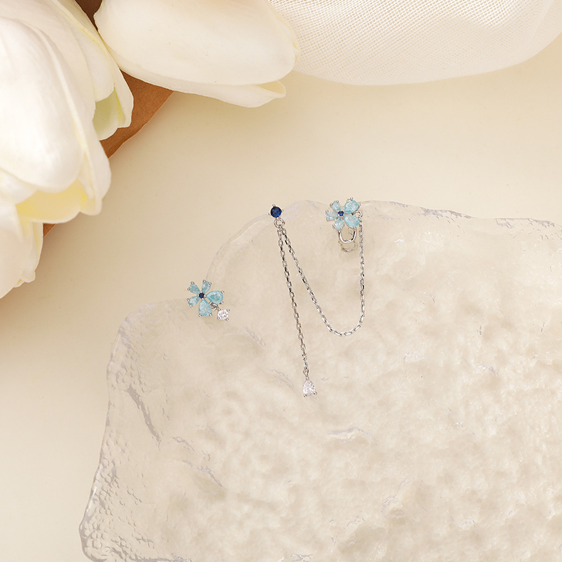 Fashion popular zircon small flower  Korean   earrings wholesale nihaojewelry NHMS245289