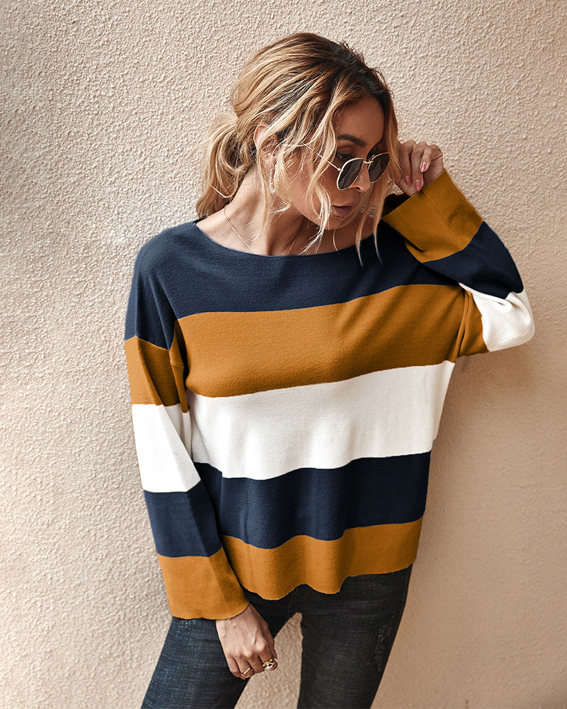 women's stand-alone contrast striped sweater autumn and winter new top wholesale NSKA279