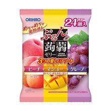 日本原装进口orihiro立喜乐蒟蒻果冻三拼24枚芒果紫葡萄水蜜白桃