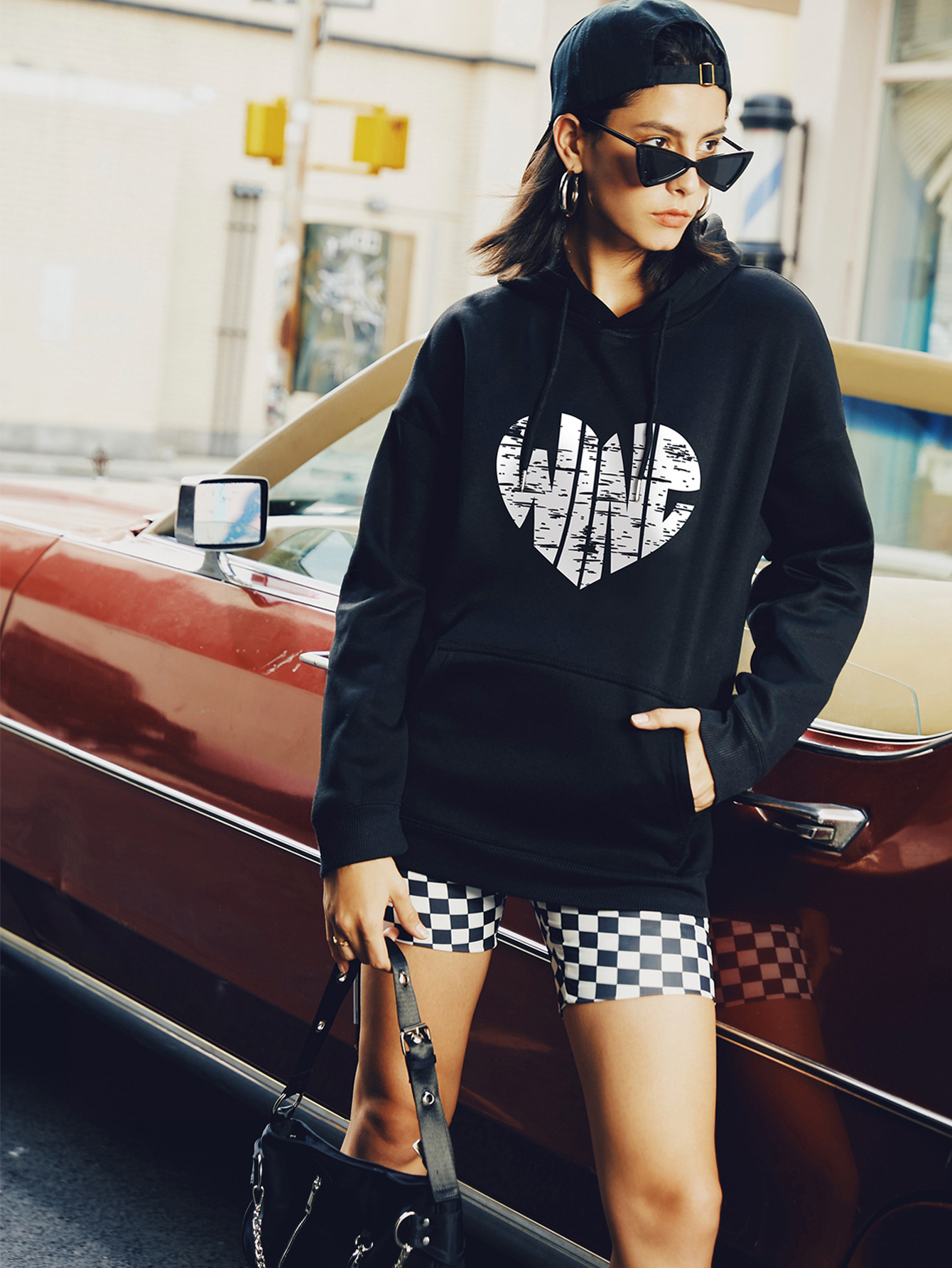 hot autumn and winter hooded women's sweater hot love printing wholesale NSSN305