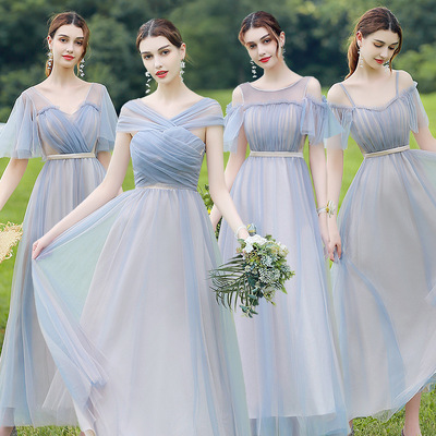 evening dress Bridesmaid dress female long sister group fairy year-old dress woman