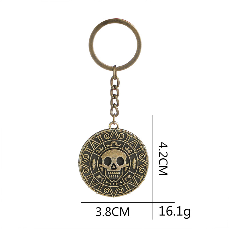 Explosion Keychain Caribbean Pirate Skull Gold Coin Keychain Hot Accessories wholesale nihaojewelry NHMO220455
