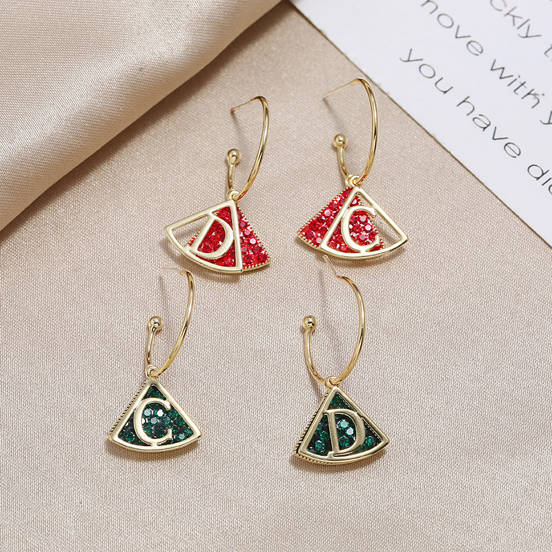 New S925 Silver Pin Fan Shaped Letter Earrings Fashion Retro Simple Wild Earrings Wholesale NHKQ205805