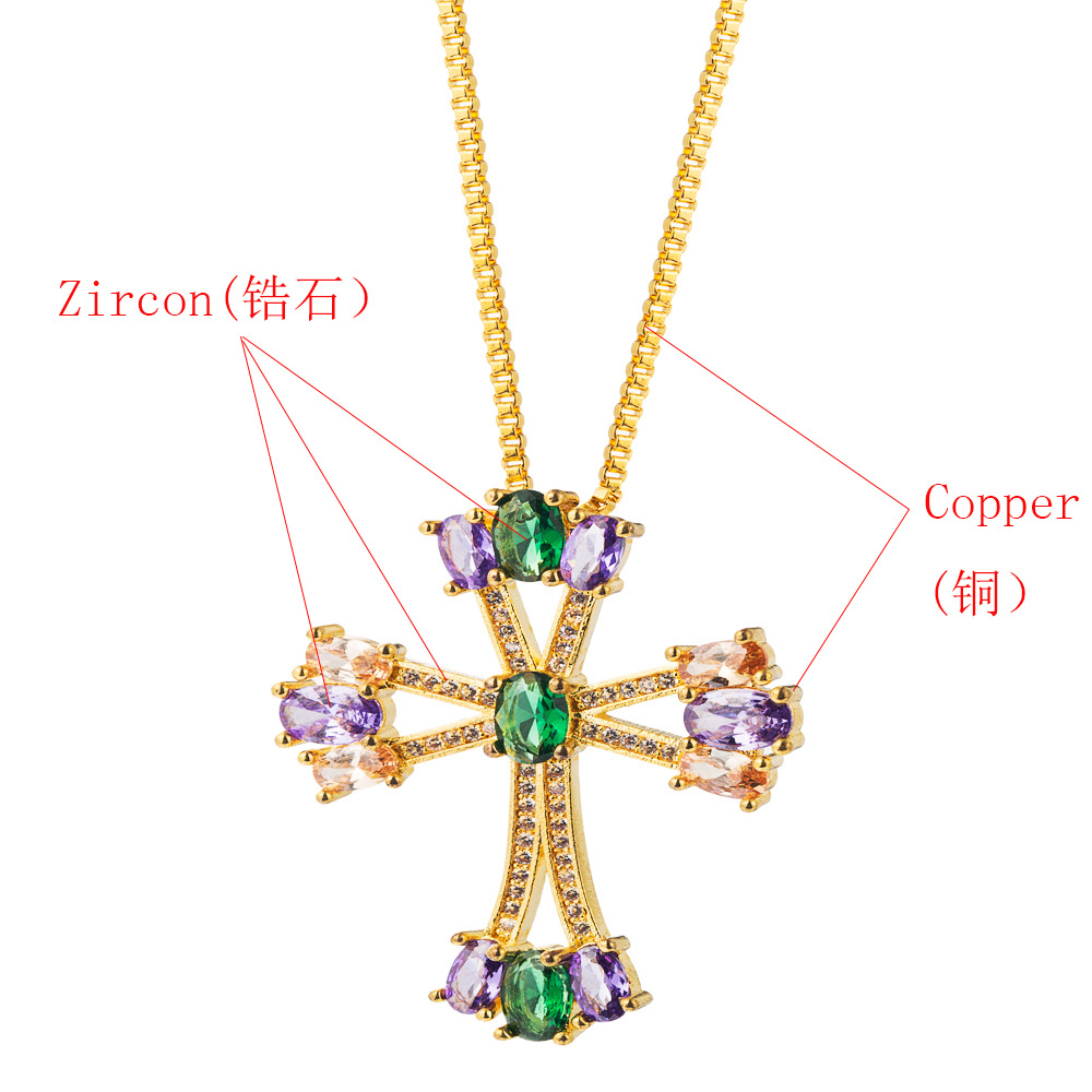 Female Clavicle Chain Pendant Necklace Valentine Hip Hop Cross Copper Inlaid Color Cubic Necklace NHLN196524