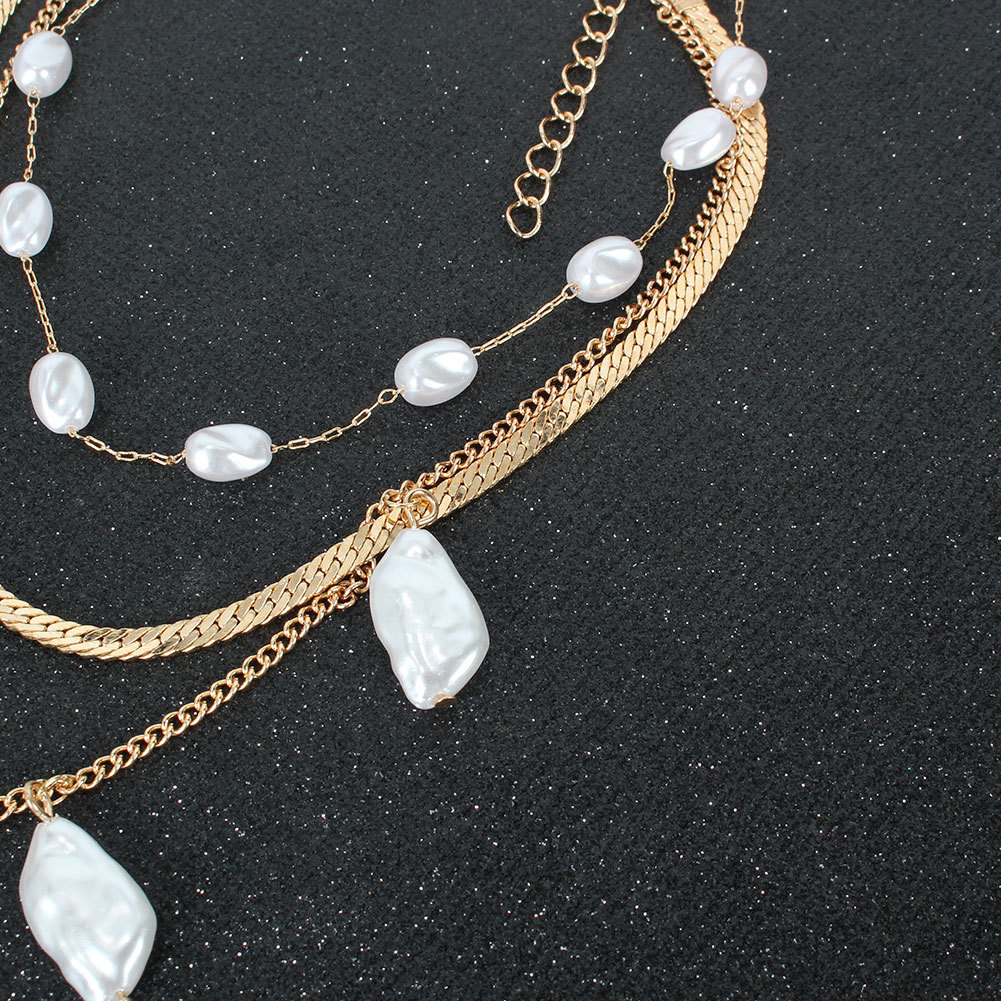 Bohemian Simple Shaped Pearl Necklace for women wholesale NHCT243265