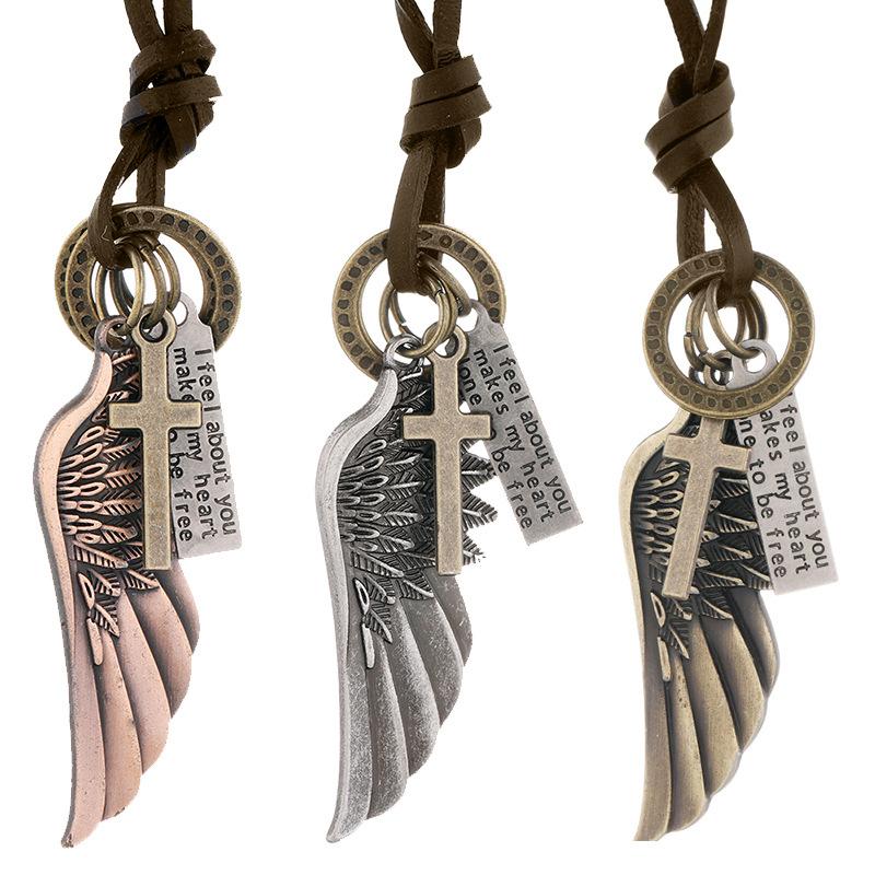 欧美跨境饰品个性天使翅膀吊坠牛皮项链可调节简约长款男士颈链