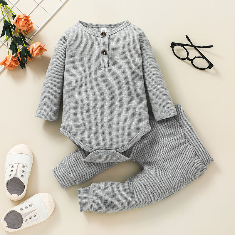 simple childrens gray pullover twopiece striped romper trousers suit wholesale nihaojewelry NHSSF428688