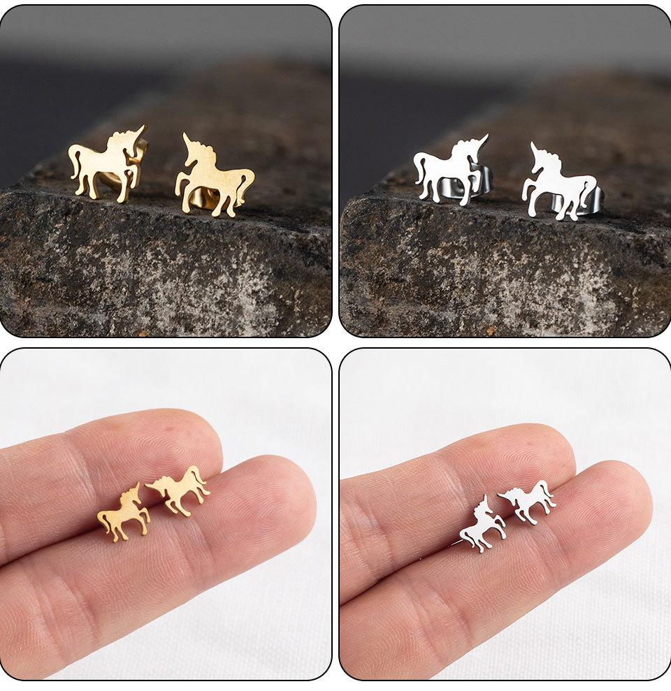 Simple stainless steel animal earrings wholesale NHAKJ331425