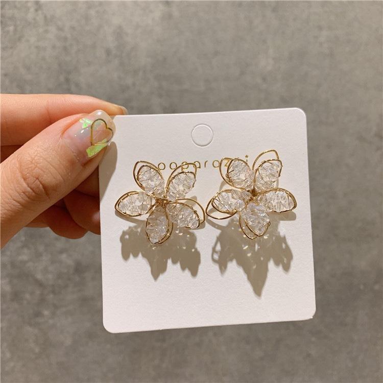 韩国东大门925纯银针水晶气质镂空花朵耳环女超仙花瓣清新耳钉女