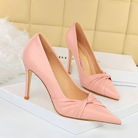 869-6 han edition spring fashion delicate high-heeled shoes high heel with shallow pointed mouth sweet bowknot single shoes