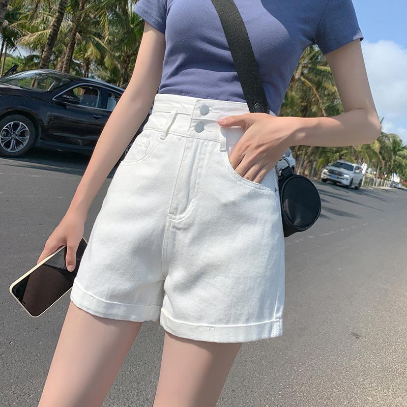 牛仔短裤女2021夏季新款高腰宽松双扣收腹显瘦翻边网红白色热裤潮