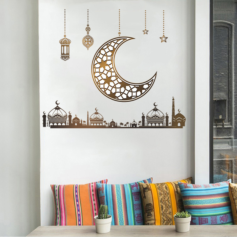Fashion moon chandelier stars castle wall stickers wholesale NHAF337015