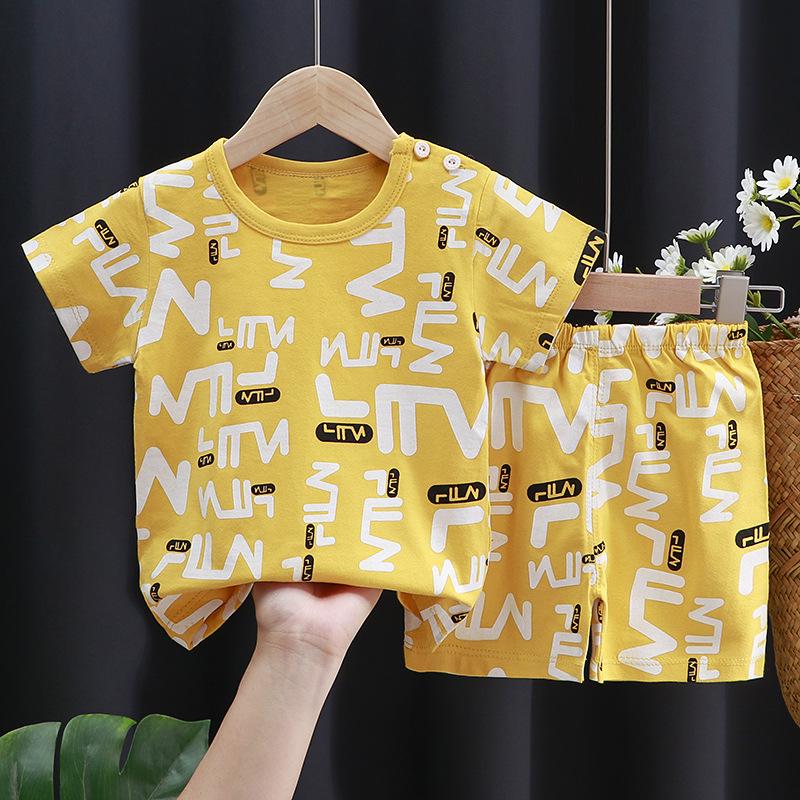 儿童短袖套装纯棉女童夏装男童t恤宝宝婴儿衣服韩版童装2021新款