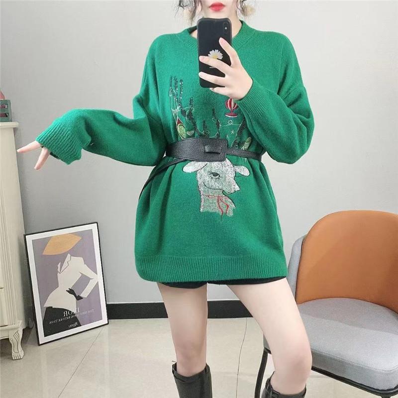 2021年新款毛衣女秋冬针织圣诞小鹿刺绣甜美减龄慵懒风套头上衣潮