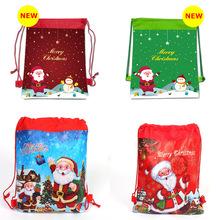 跨境圣诞老人无纺布束口袋抽绳双肩背袋圣诞礼品袋节日派对现货