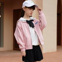 2021秋女童棒球服休闲运动女童外套秋装潮酷中大童短款宽松上衣女