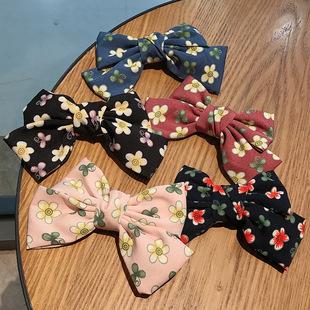 Temperament flower bow hairpin top clip net red girl side clip retro forest duckbill clip girl hairpin clip