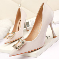 8668-8 han edition fashion pointed shallow mouth high-heeled shoes web celebrity show thin and sexy single shoe buckle diamond fine with women's shoes