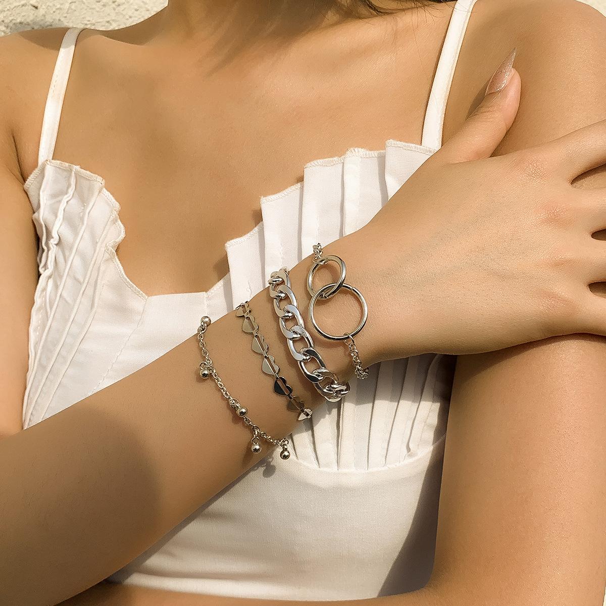 Fashion simple geometric heart circle metal chain bracelet  NHXR361399