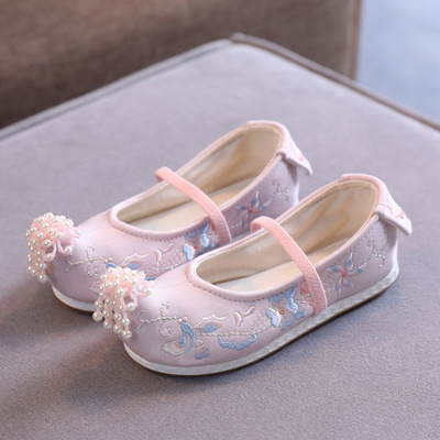 children Hanfu SHOES GIRLS Chinese folk dance hanfu embroidered shoes Beijing shoes baby ancient shoes country