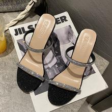 高跟凉拖鞋女2021夏季新款水钻外穿时尚欧美41-42slippers ladies