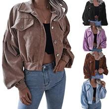 2021秋冬欧美灯笼长袖灯芯绒休闲短外套夹克 亚马逊新款跨境女装