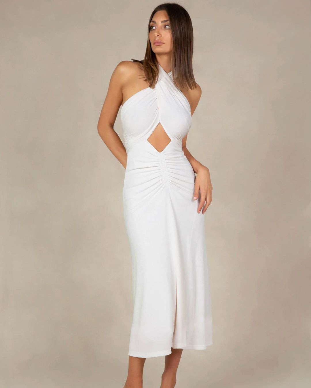 white knitted summer new hollow dress NSYSB47824