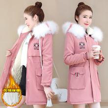 初中生外套女加绒加厚韩版少女冬装15岁13女孩中学生棉衣女中长款