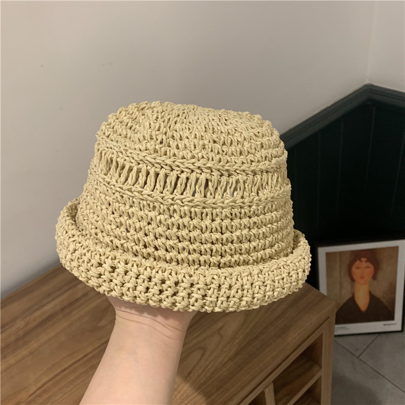 Fashion handmade without eaves straw hat NHALD337057