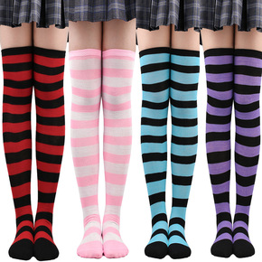 5 pairs Young girls Christmas socks striped thigh socks stage performance anime drama cosplay stockings for female Japanese JK Dress stockings Halloween cosplay party socks