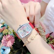 2021酒桶形镶钻女士手表时尚奢华满天星银壳彩色数字学生石英腕表