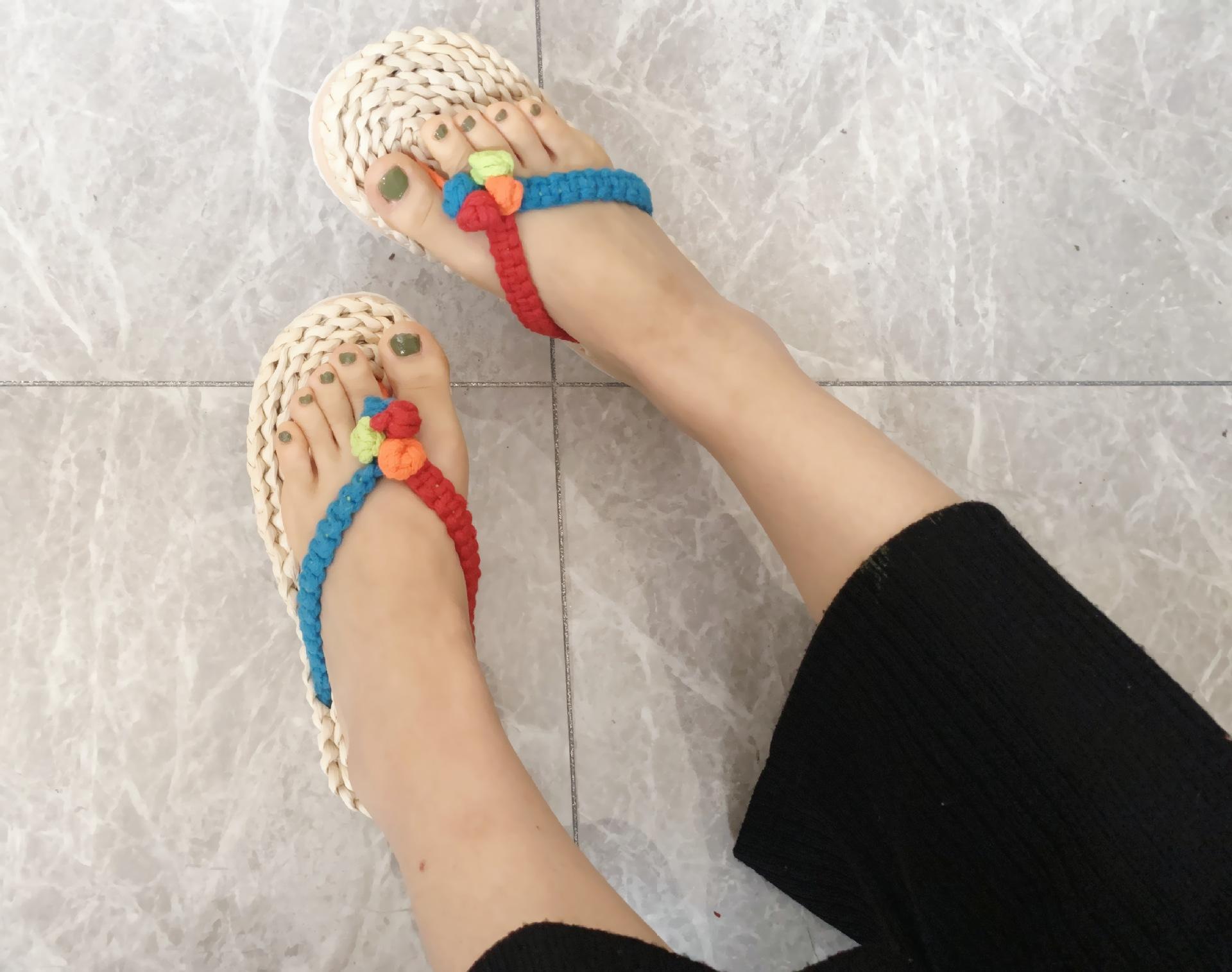 ins风泰国芭提雅草鞋玉米皮拖鞋女士彩色棉绳人字拖休闲鞋居家鞋