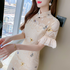 Women chinese dresses traditional oriental qipao dresses Lace cheongsam girl Chinese style dress