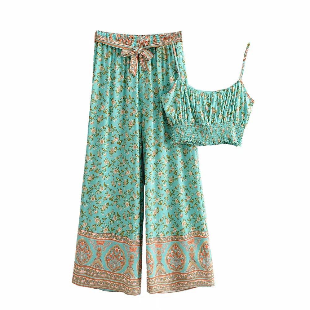 women's Bohemian Retro Printed camisole High Waist Loose Wide Leg Pants Suit nihaostyles clothing wholesale NSXPF77119