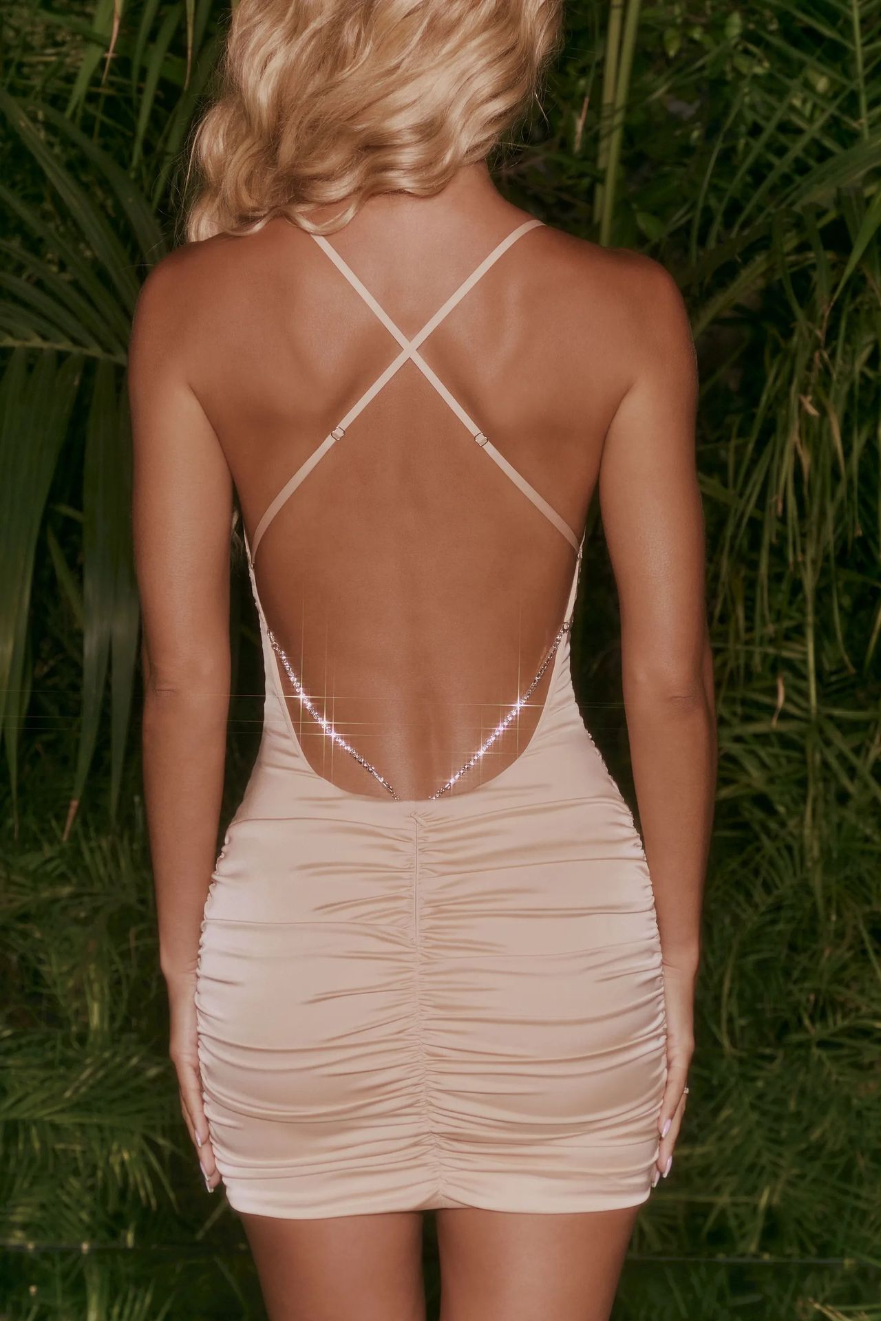 women's pure color open back rhinestone-studded suspender dress nihaostyles clothing wholesale NSFD78201