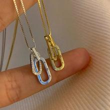 S925纯银字母环环相扣项链小众设计感2021新款女高级短款锁骨链