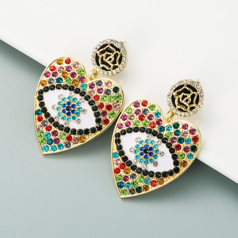 devil's eyes alloy diamond-studded earrings NHLN307837