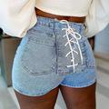 欧美性感街头女装超短热裤辣妹高腰绑带包臀牛仔弹力短裤女代发