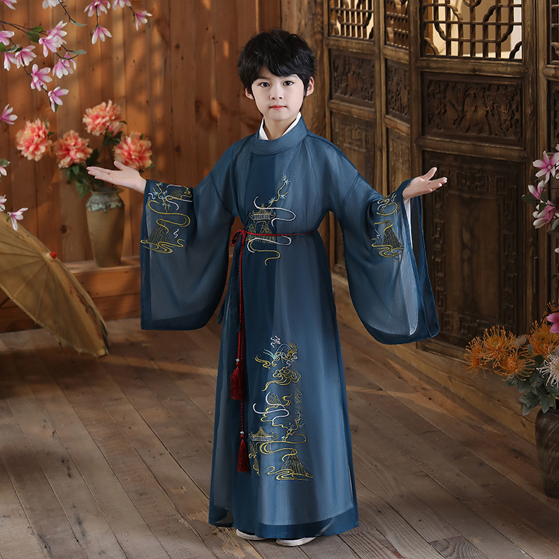 Boys kids chinese hanfu ancient traditional style prince warrior swordsman cosplay robe Tang suit chinese kung fu clothing for children