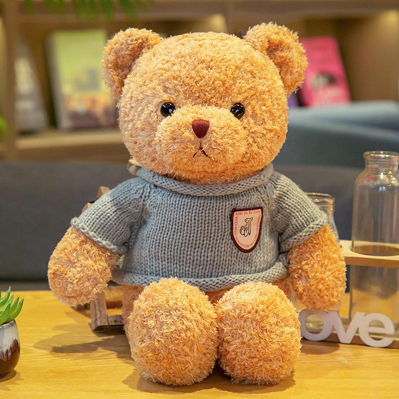 厂家批发毛衣泰迪熊抱抱熊公仔毛绒玩具小熊抱枕布娃娃婚庆礼品