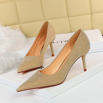 8999-6 European and American wind high heel fashion party with shallow pointed mouth shining sequins cloth single shoe h