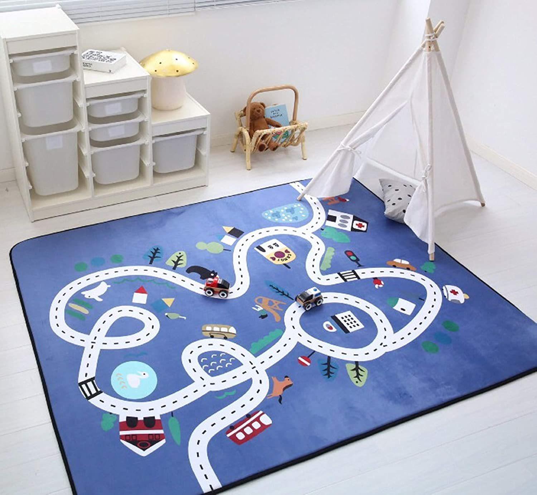ins法兰绒可爱卡通家用儿童益智游戏毯爬行防滑游戏地垫可机洗