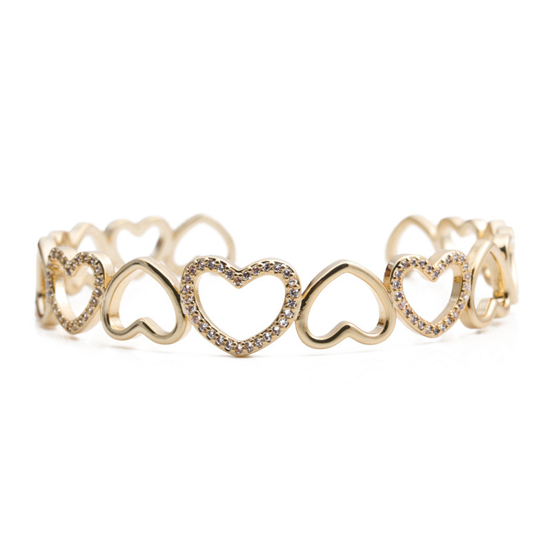 Fashion heart-shape colorful zircon copper bracelet NHYL333055