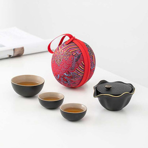 Portable travel green chinese kungfu teacups set Outdoor hiking one pot and three cups  travel trip Kung Fu tea set